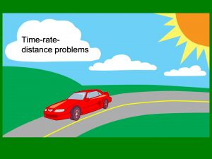 Time-rate-distance problems written on a cloud over a car driving down the road