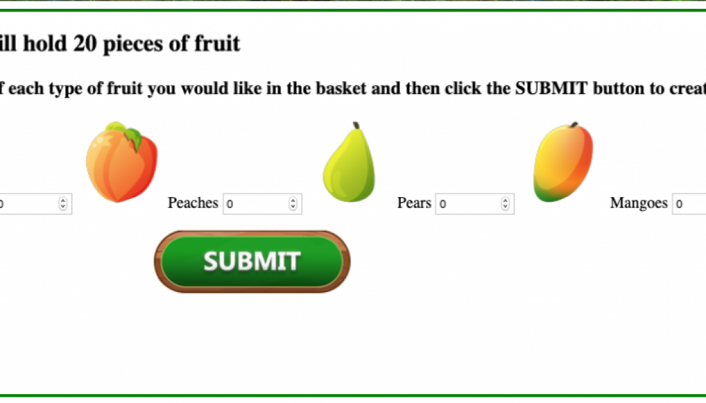 simulator website allowing students to enter different numbers of fruits