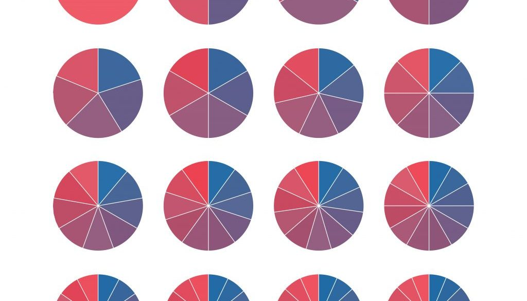 Set of brightly colored pie charts. Circle segments set. Fraction mathematics. Infographics circuit process