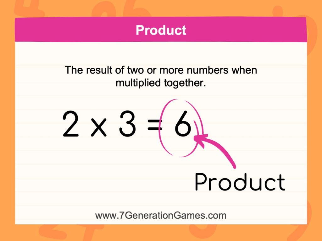 The result of two or more numbers together is the product.