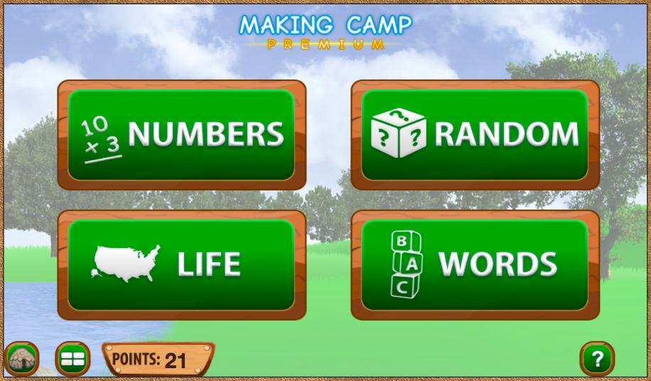Menu from Making Camp Premium