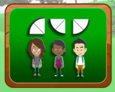 3 characters each under a slice cut in one half